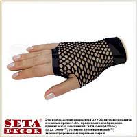 Перчатки-митенки Сеточка короткие чёрные