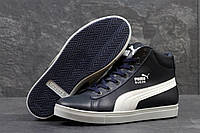 Мужские кроссовки Puma Suede. Кожа 100%. Темно синие. Размеры 40 41 42 43 44 45