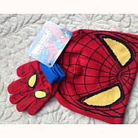 Комплект шапка и перчатки Спайдермен Человек Паук 4-8 лет