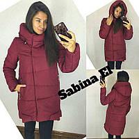 Женская прямая теплая куртка на силиконе с капюшоном 70111