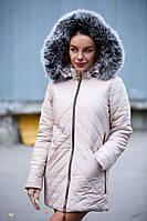 Женская куртка на синтепоне с капюшоном и опушкой 140112