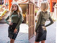 Кожаная женская юбка - карандаш в расцветках 311118