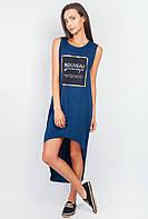 Платье женское удлиненное сзади, спортивное AG-0003701 Темно-синий
