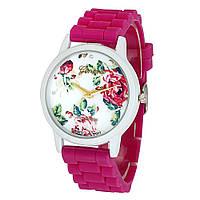 Часы женские Geneva Flowers на силиконовом ремешке (Pink)