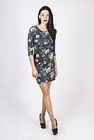 Молодежное трикотажное платье в цветочный принт, фото 1