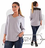 Женская прямая блуза большого размера с экокожей fmx7311