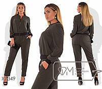 Женский брючный костюм в больших размерах из костюмной ткани fmx7349