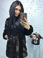 Женская шуба из искусственного меха с капюшоном (цвет махагон) 90 см 39203