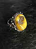 Кольцо серебро с янтарем .