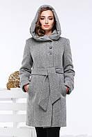 Модное шерстяное пальто полуприталенного силуэта Ада серое