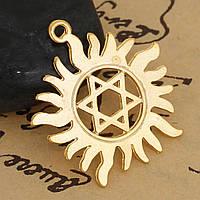 Звезда Давида, Цинковый сплав, Подвеска, Солнце, Позолоченный, Ажурная резьба, 33мм x 31.0мм