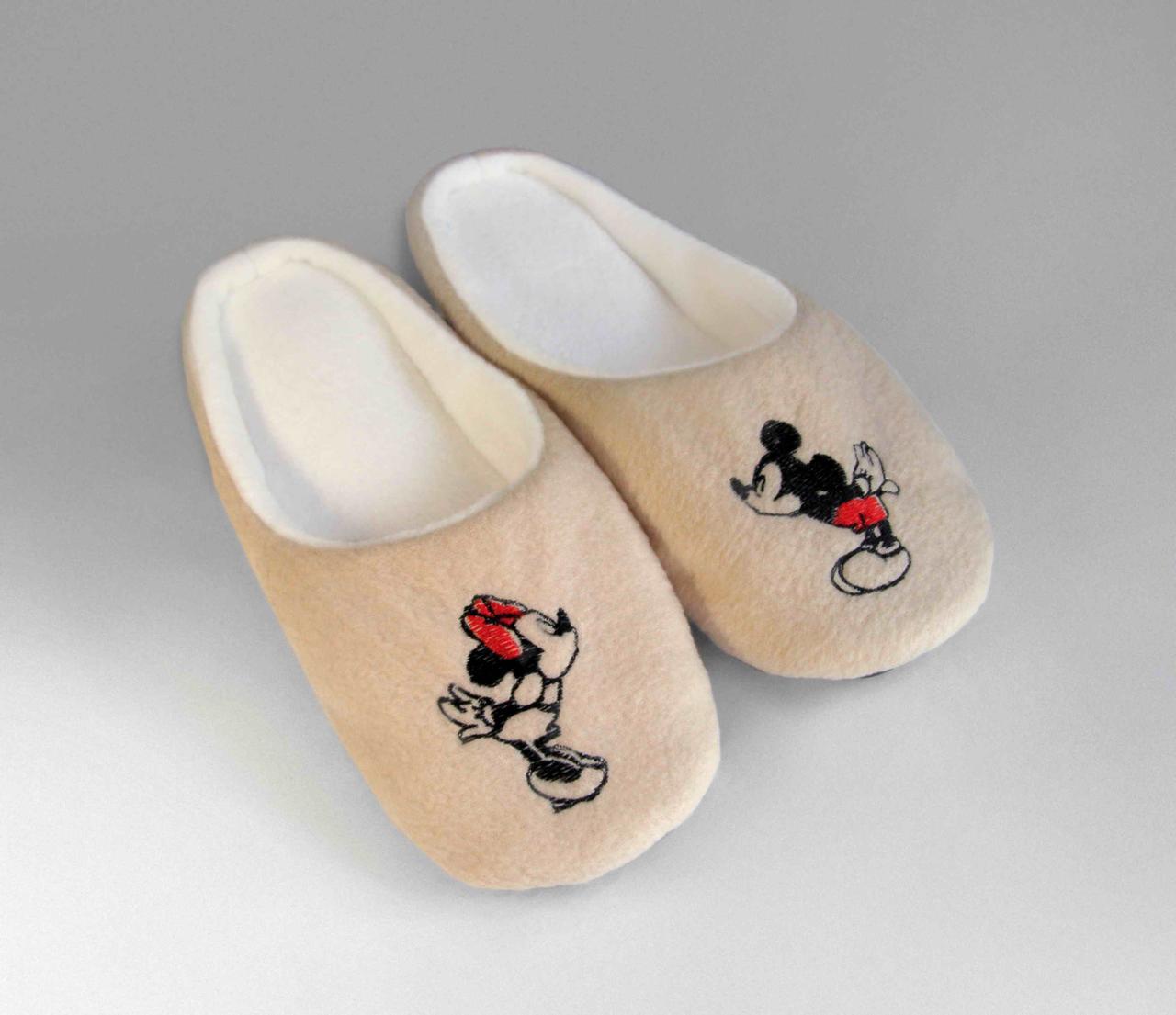"Тапочки - шлепки  th 29 с вышивкой ""Микки Маус"" бежевые"