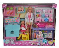 """Кукольный набор Штеффи и Эви """"Ветеринарная клиника"""" с животными и аксес., 3+"""