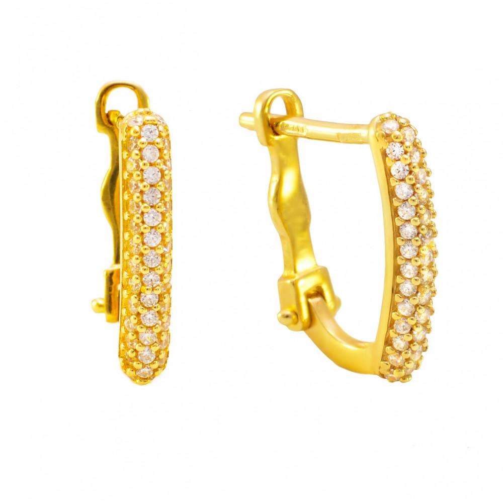 Золотые серьги с цирконием лимонное золото
