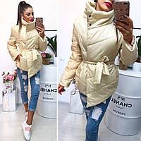 Женская куртка с поясом большие пуговицы