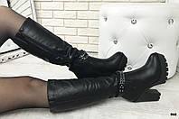Зимние Сапоги на тракторной подошве, широкий каблук материал- эко-кожа вутри -иск мех по всей длине сапога