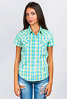 Рубашка женская с коротким рукавом  AG-0004092 Салатово-голубой