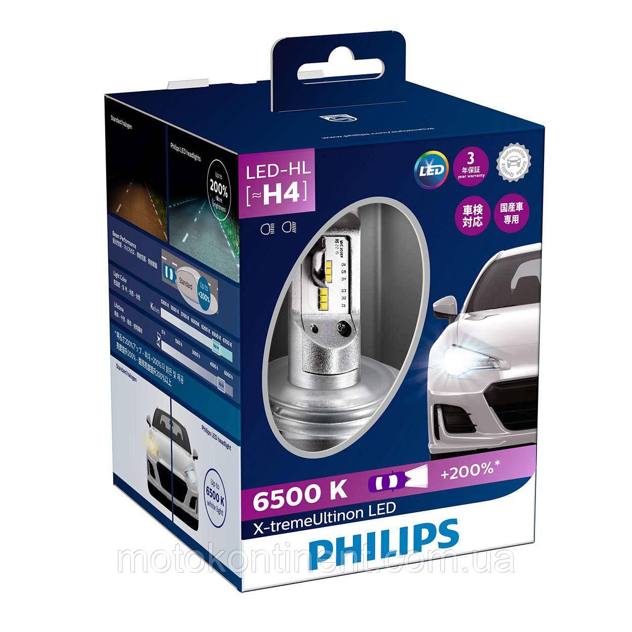 PHILIPS LED H4 Cветодиодные лампы PHILIPS в ПТФ H4 X-treme Ultinon LED Fog 6500K 12901HPX2
