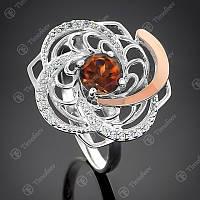 Кольцо серебряное с золотом и раухтопазом Роза
