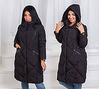 Зимнее женское пальто холлофайбер в больших размерах 17663 в расцветках