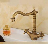 Смеситель кран в ванную двухвентильный бронза 0473, фото 1