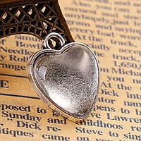 Кабошон, Цинковый сплав, Подвеска, Сердце, Цвет серебро, Прозрачное стекло кабошон, 21мм x18mm, 16мм x16mm