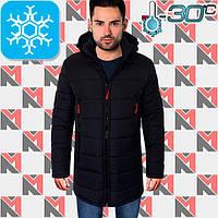 Зимняя мужская куртка длинная - 1703 темно-синий