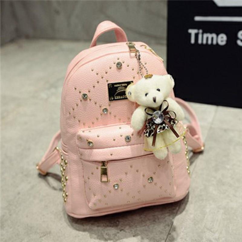 2be063fa39b8 Рюкзак женский кожаный со стразами и мишкой (розовый) - Интернет-магазин  «VINGO