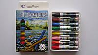 """Мелки восковые 8 цв """"Oil Pastels"""",150*90*20мм.Восковые карандаши для рисования и детского творчества.Цветные в"""