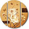 Круглая модульная картина РОЗЫ из 3 фрагментов