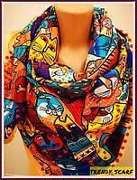 Женский Платок Котики (Коты). Разноцветные коты и персиковый (бежевый) кант. Кашемир.130\130
