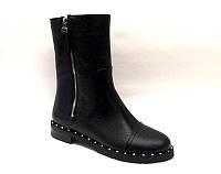 Ботинки женские высокие на низком каблуке замшевые/кожаные осень-весна черные 0487УКМ
