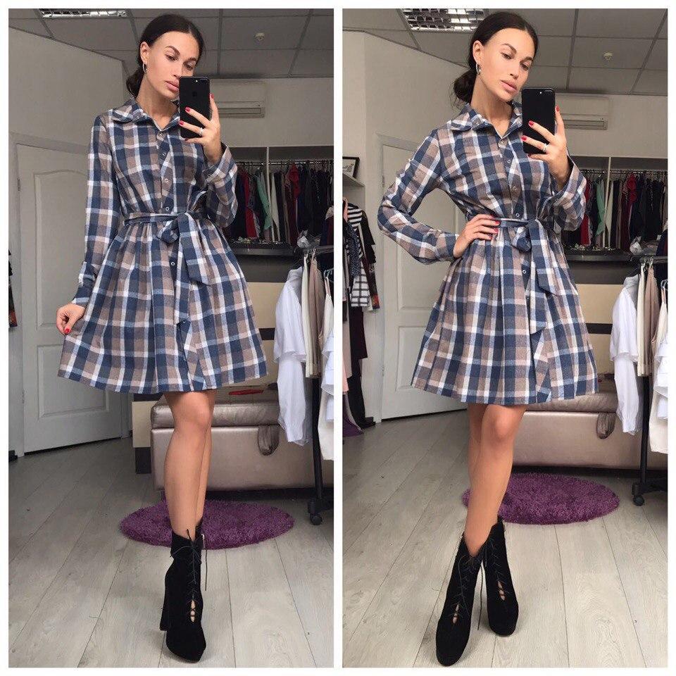 Стильное платье-рубашка в клетку - eleganza.com.ua в Одессе 9173e05ca4255