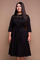 Платье больших размеров с поясом Грейс черное