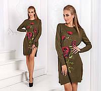 """Женское стильное платье-туника 52 """"Вязка Розы Букет"""" в расцветках"""