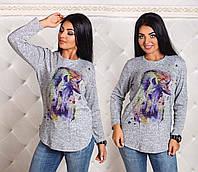 """Женская стильная туника из ангорки в больших размерах 1168 """"Лошадь Акварель"""""""