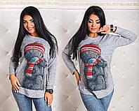"""Женская стильная туника из ангорки в больших размерах 1190 """"Мишка"""""""