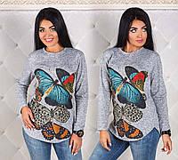 """Женская стильная туника из ангорки в больших размерах 1166 """"Бабочки"""""""
