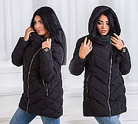 Тёплая женская зимняя куртка холлофайбер в больших размерах 17662 в расцветках