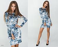"""Элегантное короткое женское платье 5331 """"Велюр Цветы Мини"""" в расцветках"""