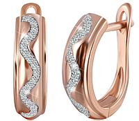"""Позолоченные серебряные серьги с фианитом в стиле """"Tiffany"""""""