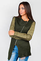 Куртка-свитер  женская осенняя Хаки