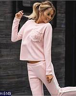 Стильный розовый  женский спортивный костюм  из ангоры . Арт-15000
