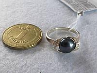 Кольцо с черным жемчугом в серебре с золотыми напайками