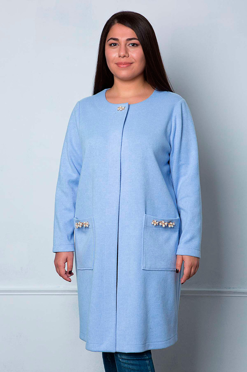 c0453825540 Модный кардиган для полных женщин ангора Дэни голубой - V Mode