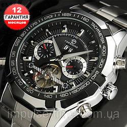 Механические часы с автоподзаводом Forsining (black) - гарантия 12 месяцев