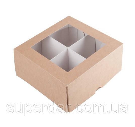 Коробка для печенья с разделителем, 165Х165Х80 мм., крафт