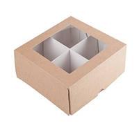 Коробка для печенья с разделителем, 165Х165Х80 мм., крафт, фото 1