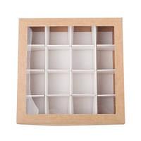Коробка для конфет 150х150х30 мм, крафт, с разделителями , фото 1
