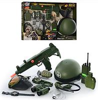 Набор военный 33570 каска, автомат, наушники, фляга, часы, рация, гран
